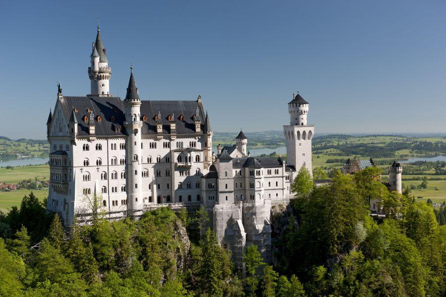 neuschwanstein, zamok, nemecko, hrad, poznavaci zajazd, satur