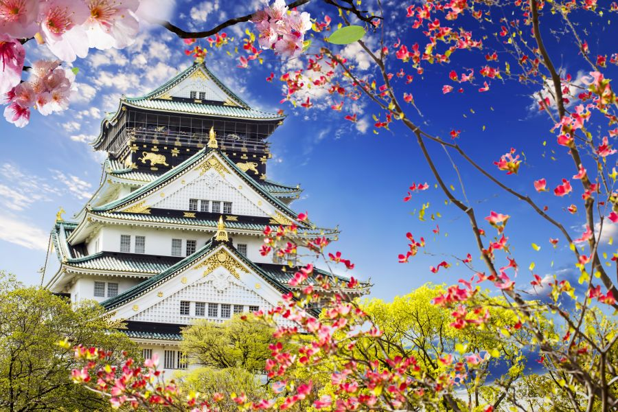 osaka, japonsko, poznavaci zajazd, satur, hrad, zamok,