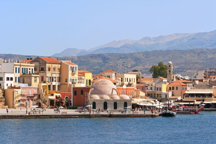 chania, kreta, grecko, pristav, stredozemne more, dovolenka v grecku, dovolenka na krete, letna dovolenka pri mori, satur