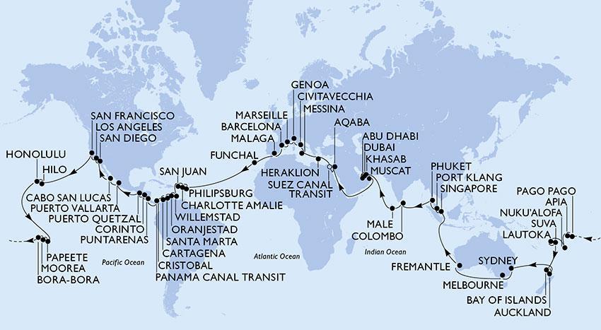 msc magnifica, vyletna plavba, vyletna lod, cesta okolo sveta, satur
