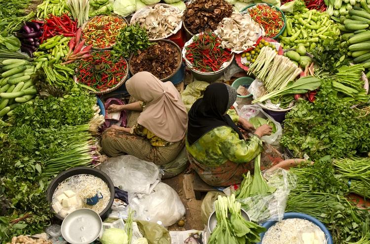 Tradičný trh s ovocím a zeleninou v malajzii