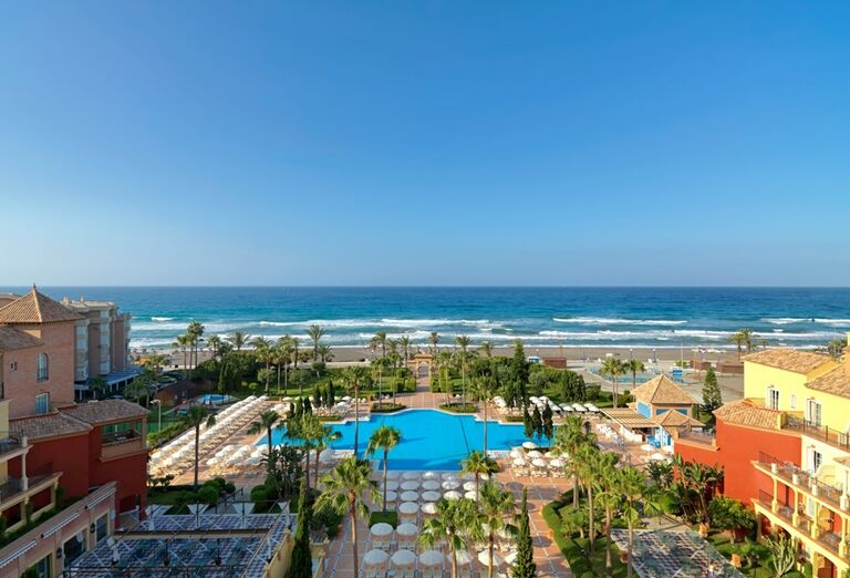 výhľad z hotela Iberostar Malaga Playa, Andalúzia, Španielsko, stredisko Torrox Costa